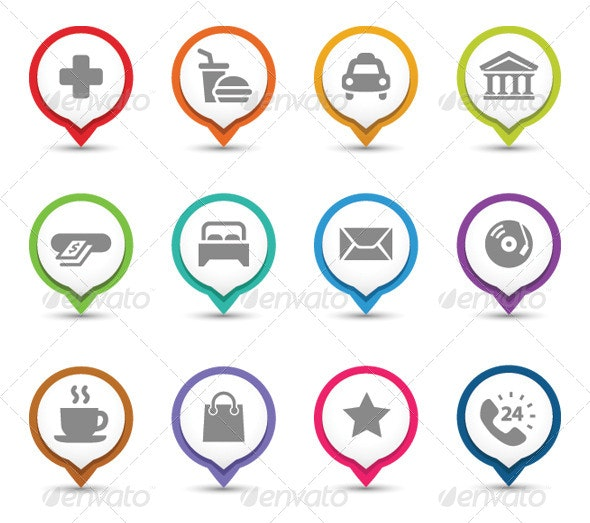 Map Pins With Icons. - Services Commercial / Shopping