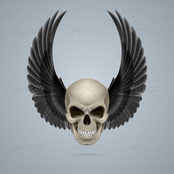 Evil Skull with Wings Up - Miscellaneous Vectors