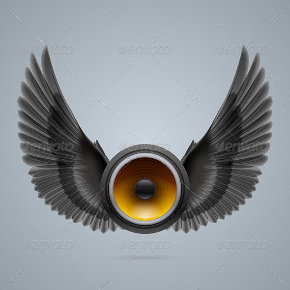 Music Speaker with Two Wings - Backgrounds Decorative