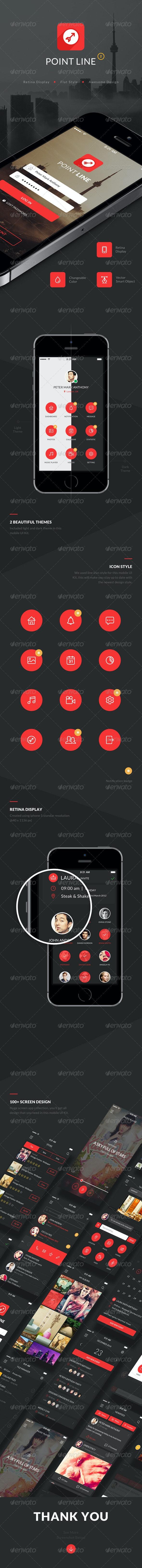 Point Flat Mobile App UI Kit - User Interfaces Web Elements