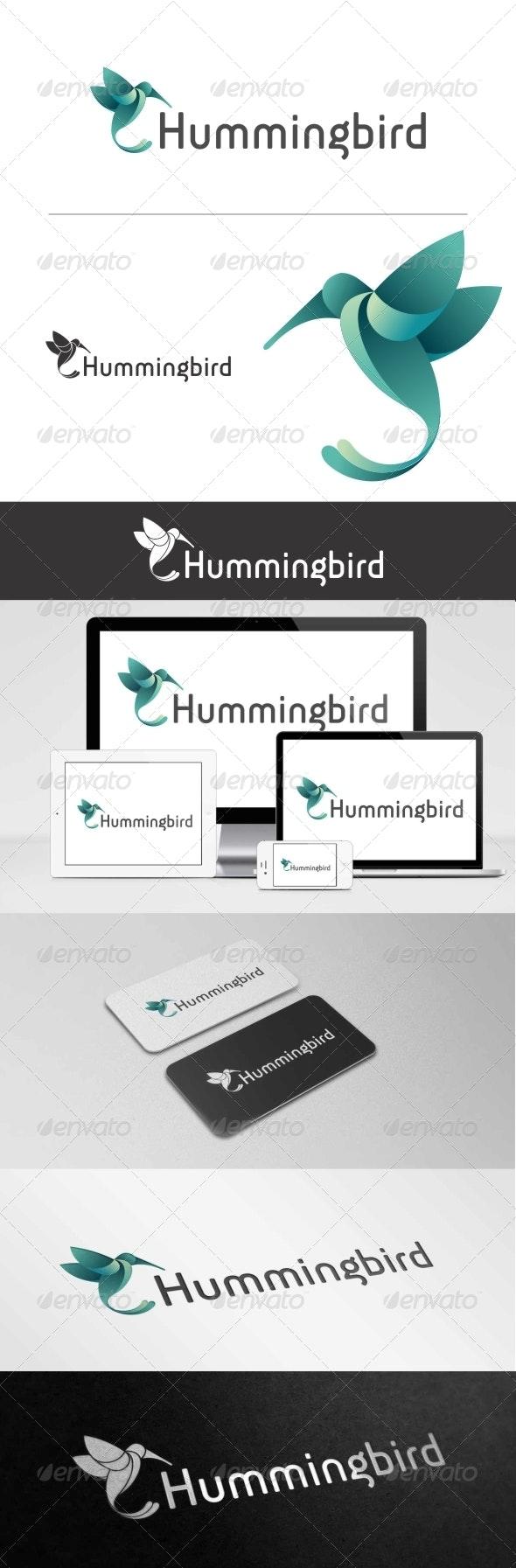 Flying Hummingbird Logo - 3d Abstract