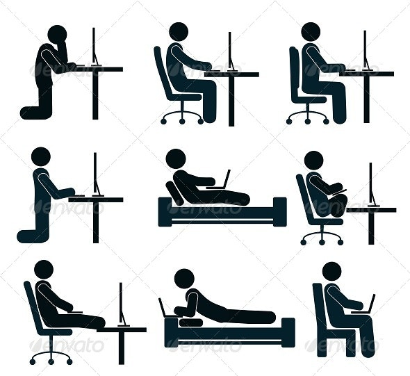 Bad and Good Working Position of the Human at the Desk - People Characters