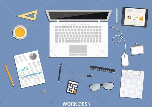 Workspace, Flat Desktop Design with Business Icons - Business Conceptual