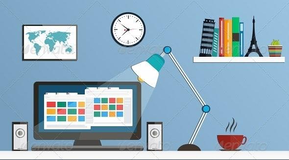 Flat Design Desktop, Workspace - Business Conceptual
