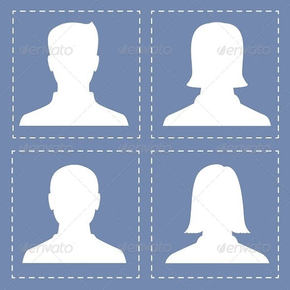 People Profile Silhouettes in White Color