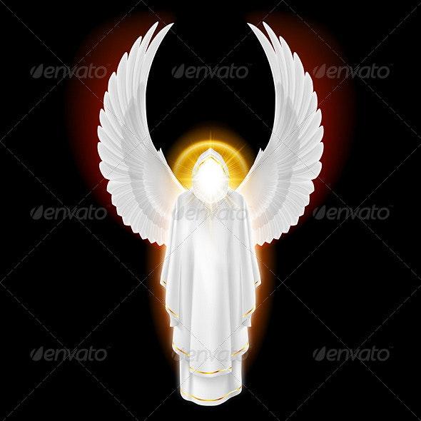 White Angel on Black - Decorative Symbols Decorative