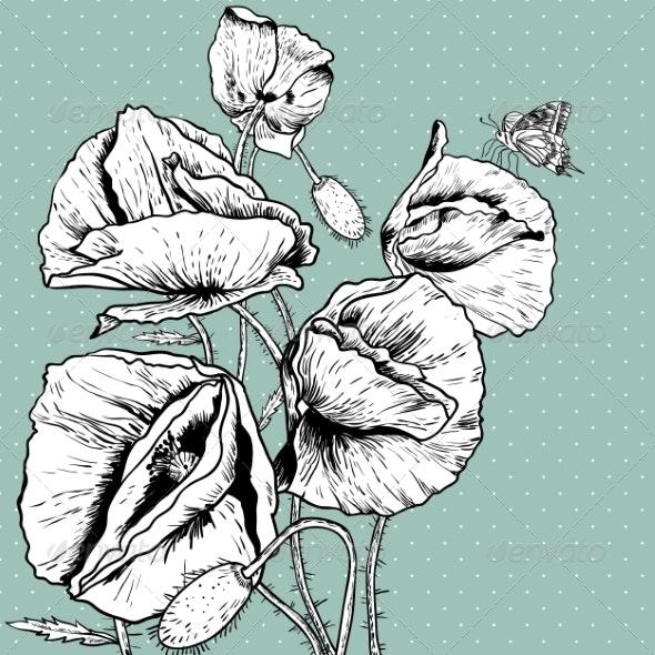 Monochrome Background with Bunch Poppy - Patterns Decorative