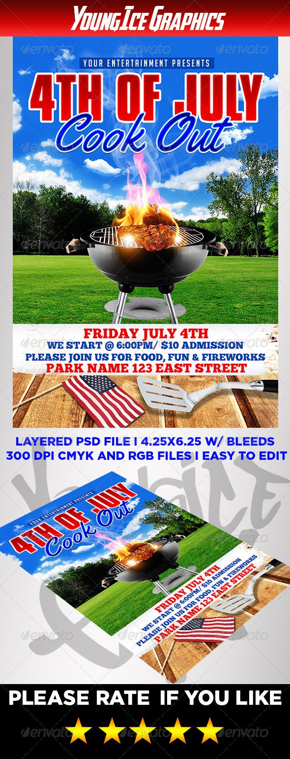 4th of July Cook Out Flyer - Events Flyers