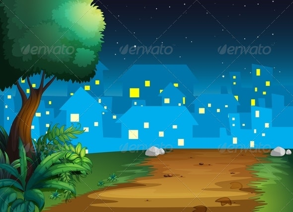 Town at Night - Landscapes Nature