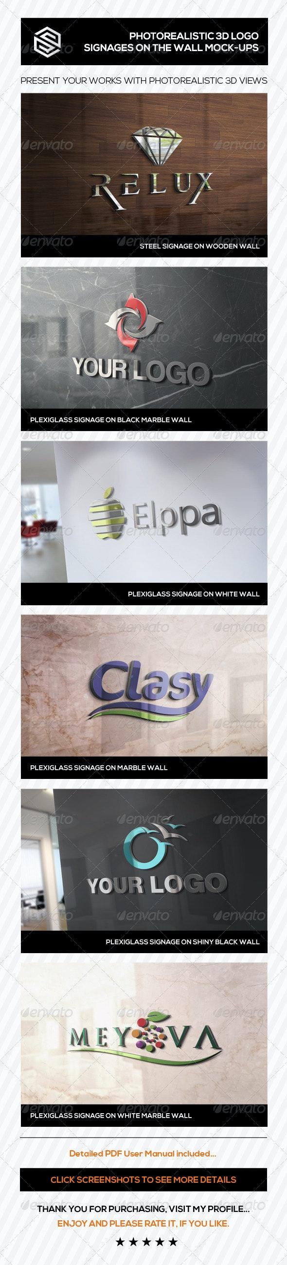 Photorealistic 3D Logo Signage Mock-Ups - Logo Product Mock-Ups