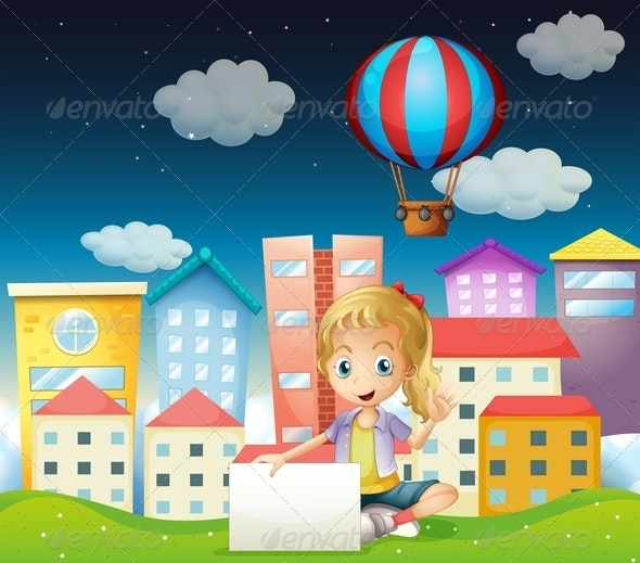 A Girl Holding an Empty Signboard Near the Tall Buildings - People Characters