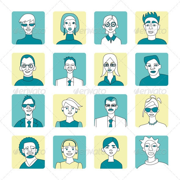 Blue and Yellow Avatar Set - Characters Vectors
