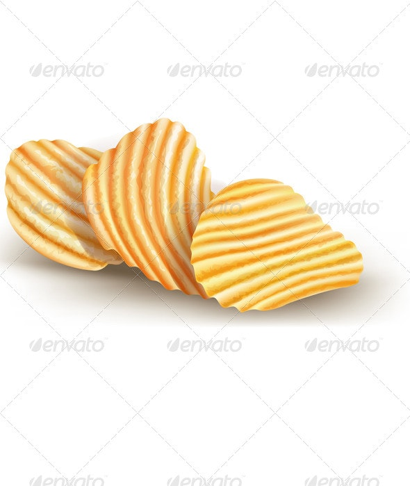 Potatos Chips on White - Food Objects