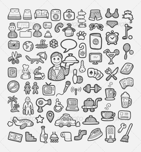 Hotel and Vacation Icons Sketch - Travel Conceptual