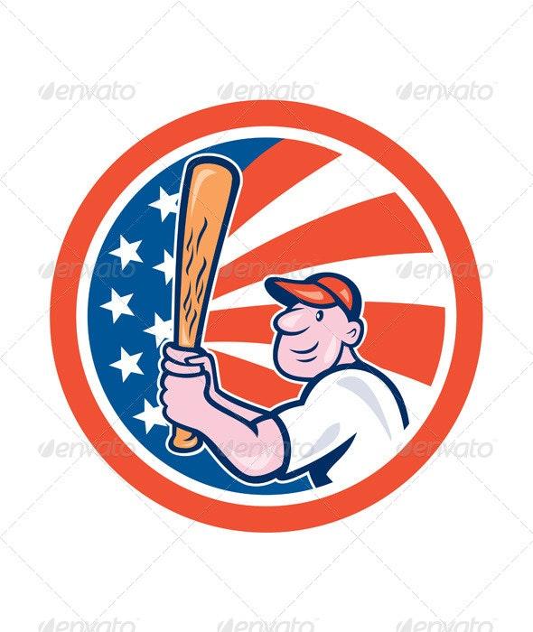 American Baseball Circle Cartoon - Sports/Activity Conceptual