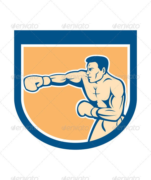 Boxer Punching Shield - Sports/Activity Conceptual