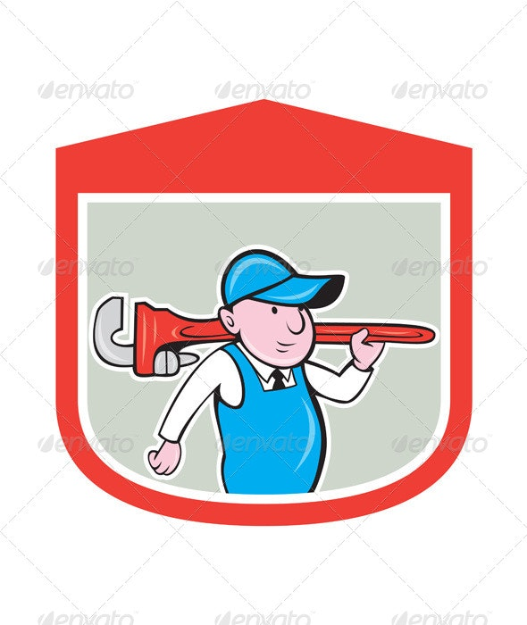 Plumber with Big Monkey Wrench in Shield - People Characters