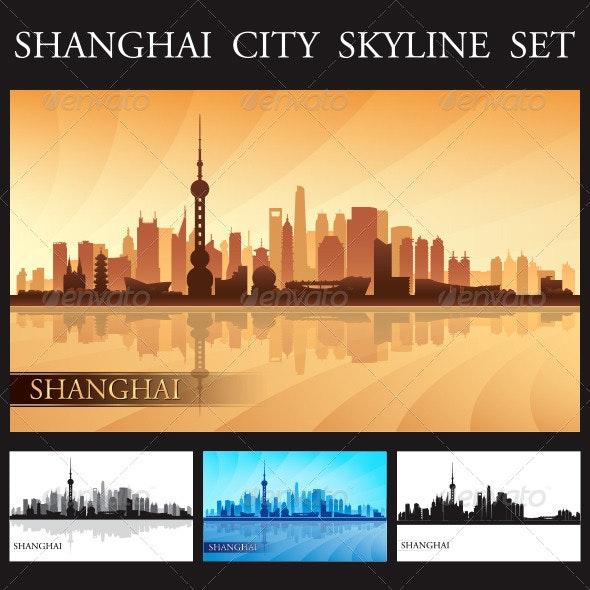 Shanghai City Skyline Silhouettes Set - Buildings Objects