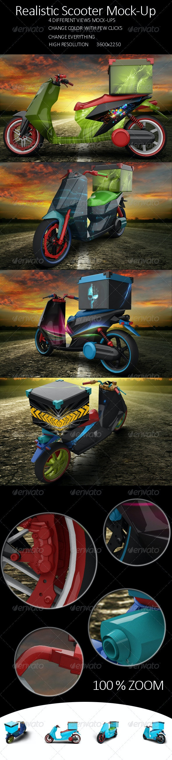 Realistic Scooter Mock Up - Product Mock-Ups Graphics