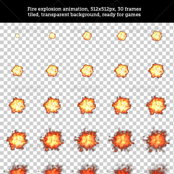 Fire Explosion Animation Spritesheet for Games