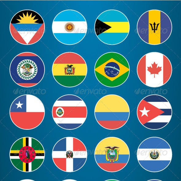 Flat Flag Icons American Countries