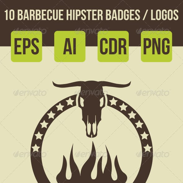 10 Barbeque Hipster Vector Emblems Vol.2