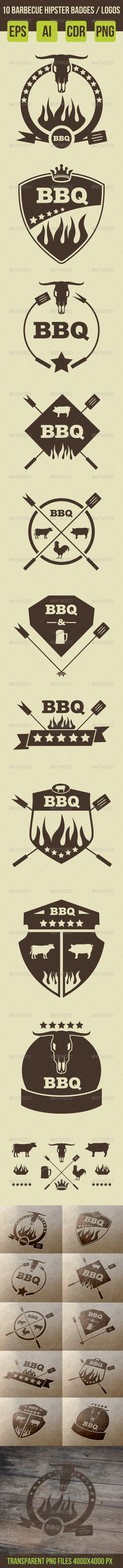 10 Barbeque Hipster Vector Emblems Vol.2  - Retro Technology