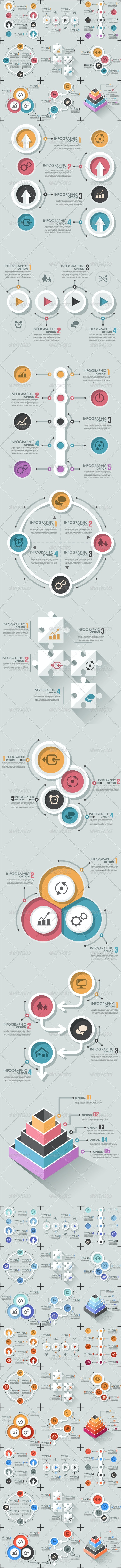 Set Of 9 Flat Infographic Options Templates - Infographics