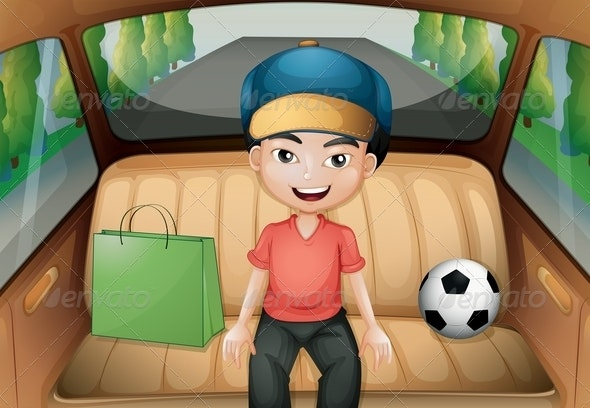 A Boy Sitting Inside a Running Car - People Characters