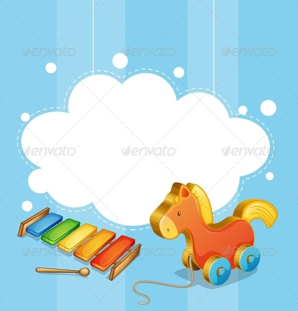 An Empty Cloud Template with a Toy Horse and a Xylophone - Man-made Objects Objects
