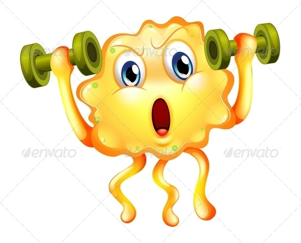 A Cute Monster Exercising with Dumbbells - Monsters Characters