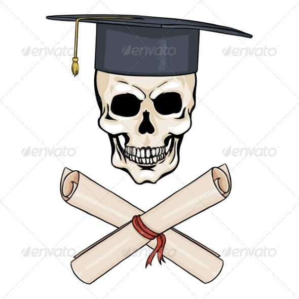 Cartoon Academic Skull and Crossed Diplomas - Miscellaneous Characters