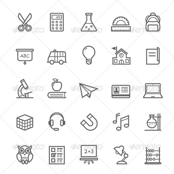 25 Outline Stroke Education Icons - Objects Icons