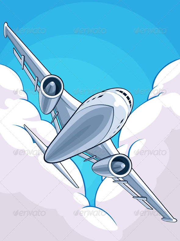 Airplane Flying Through Cloudy Sky - Travel Conceptual