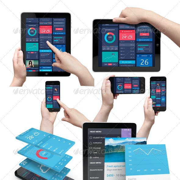 App UI Phone & Tablet Mock-up / Hands Holding