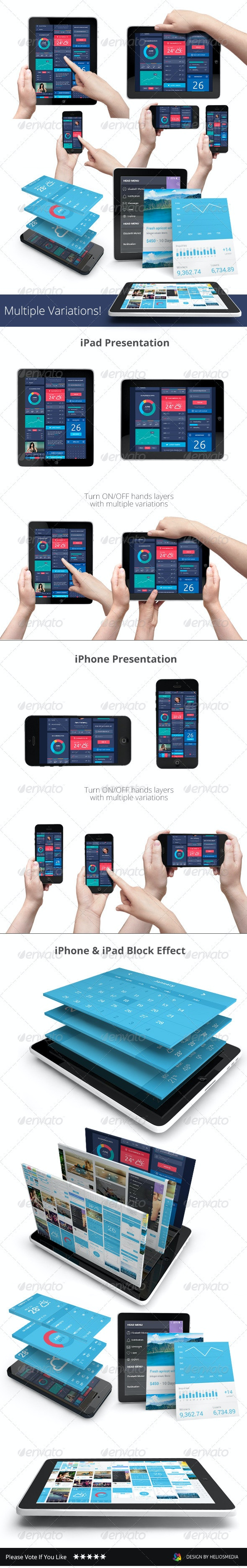App UI Phone & Tablet Mock-up / Hands Holding - Mobile Displays