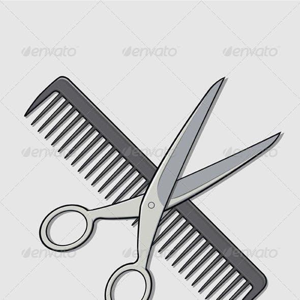 Barber Scissor and Comb