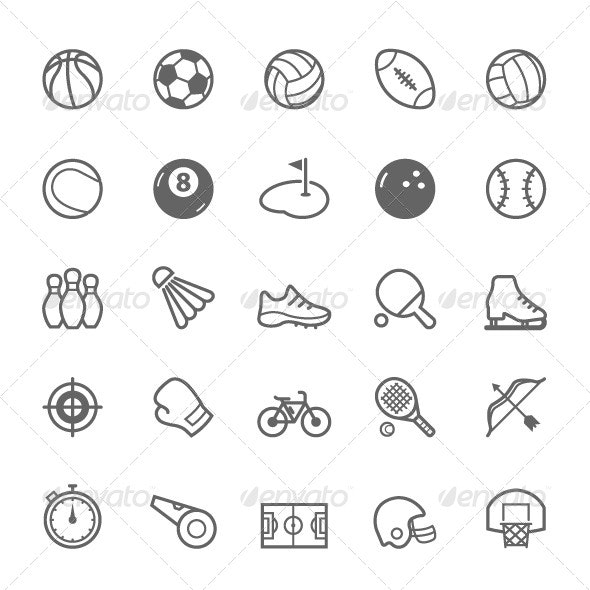 25 Outline Stroke Sport Icons - Objects Icons
