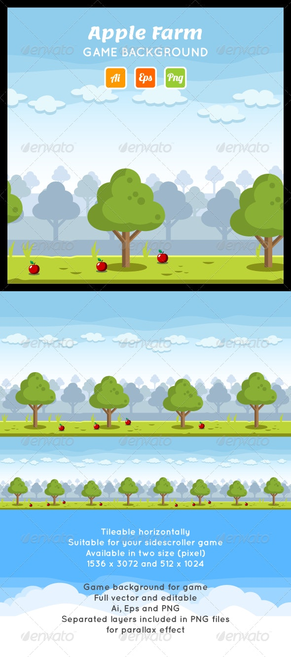 Apple Farm Game Background - Backgrounds Game Assets