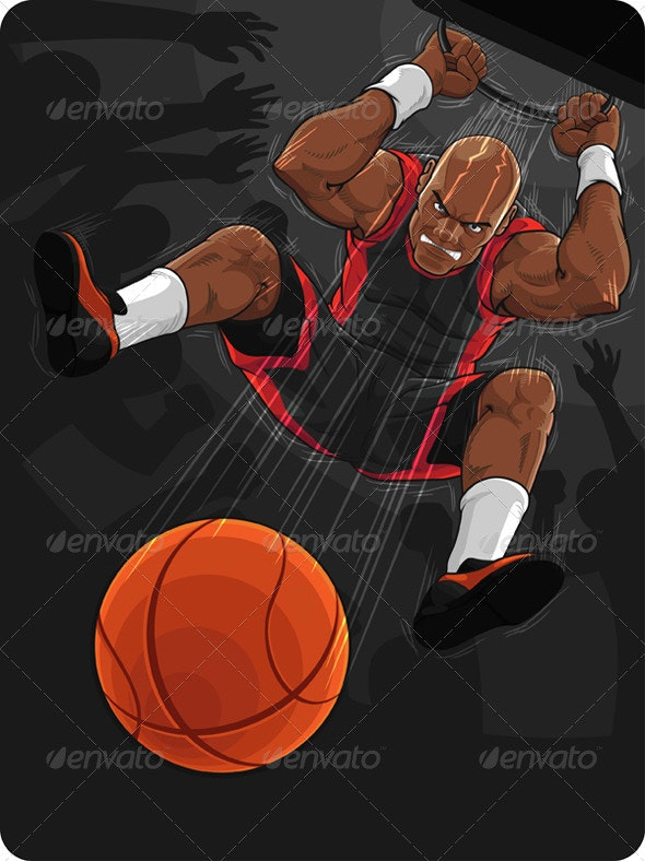 Basketball Player Doing Slam Dunk - Sports/Activity Conceptual