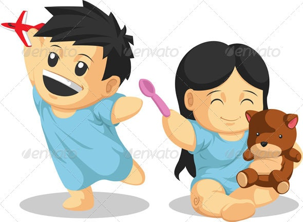 Boy & Girl Patient Playing Healthily - Health/Medicine Conceptual