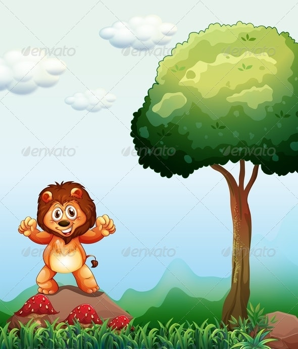 Lion Standing Near a Tree - Animals Characters