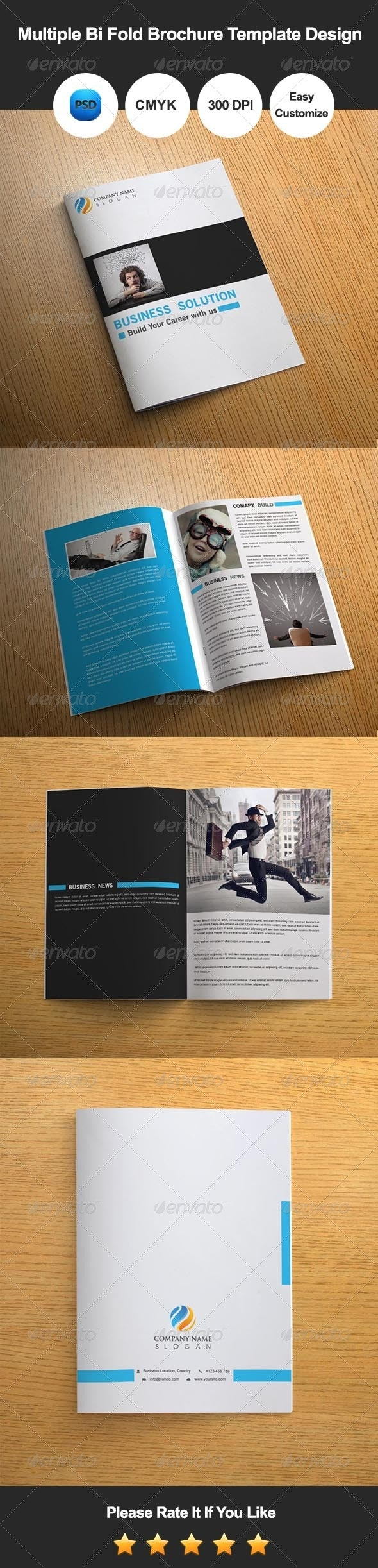 Multiple Bi Fold Brochure Template Design - Corporate Brochures