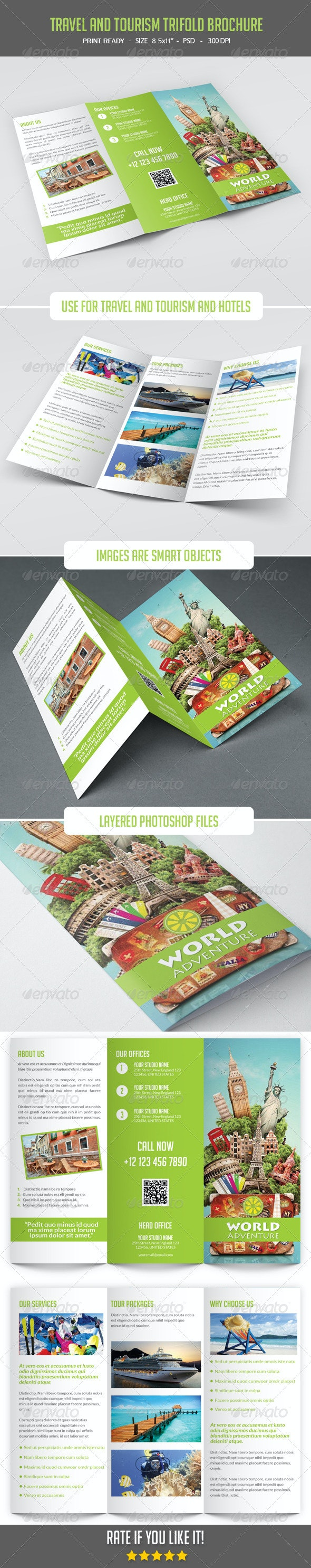 Travel and Tourism Trifold Brochure - Catalogs Brochures