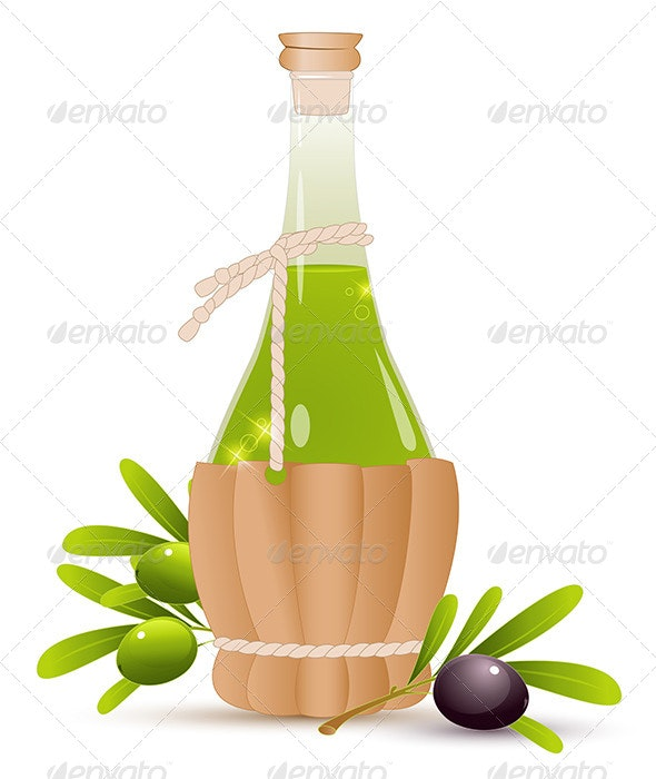 Bottle with Olive Oil - Food Objects