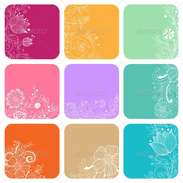 Decorative Cards with Flowers - Backgrounds Decorative