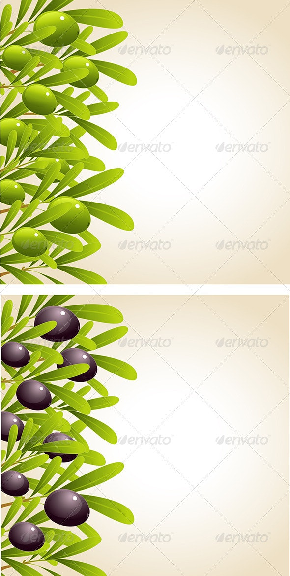 Green and Black Olive Branches - Food Objects