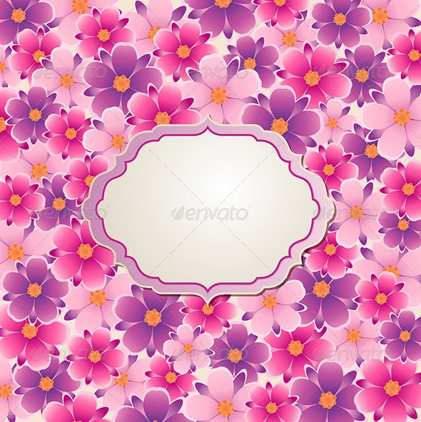 Background with Pink and Violet Flowers - Flowers & Plants Nature