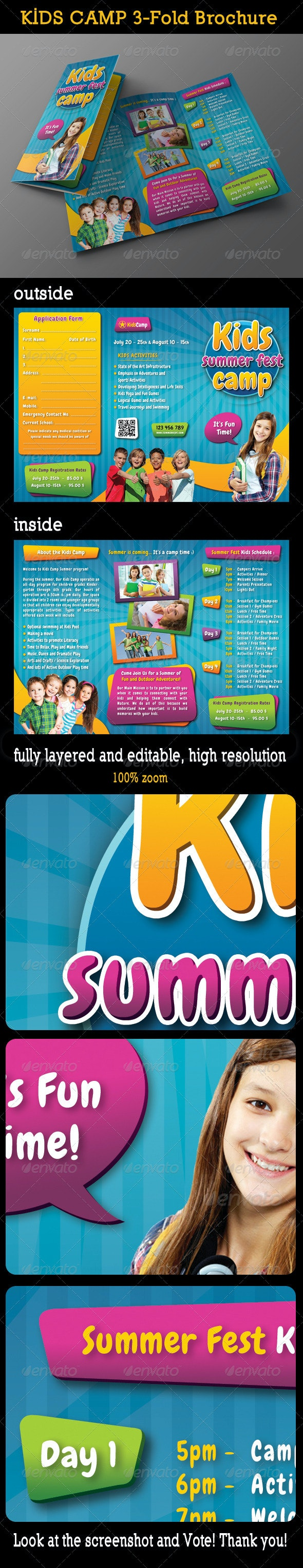 Kids Summer Camp 3-Fold Brochure 01 - Informational Brochures