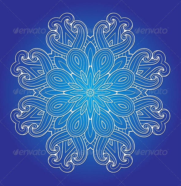 Round Ornament on a Blue Background - Abstract Conceptual